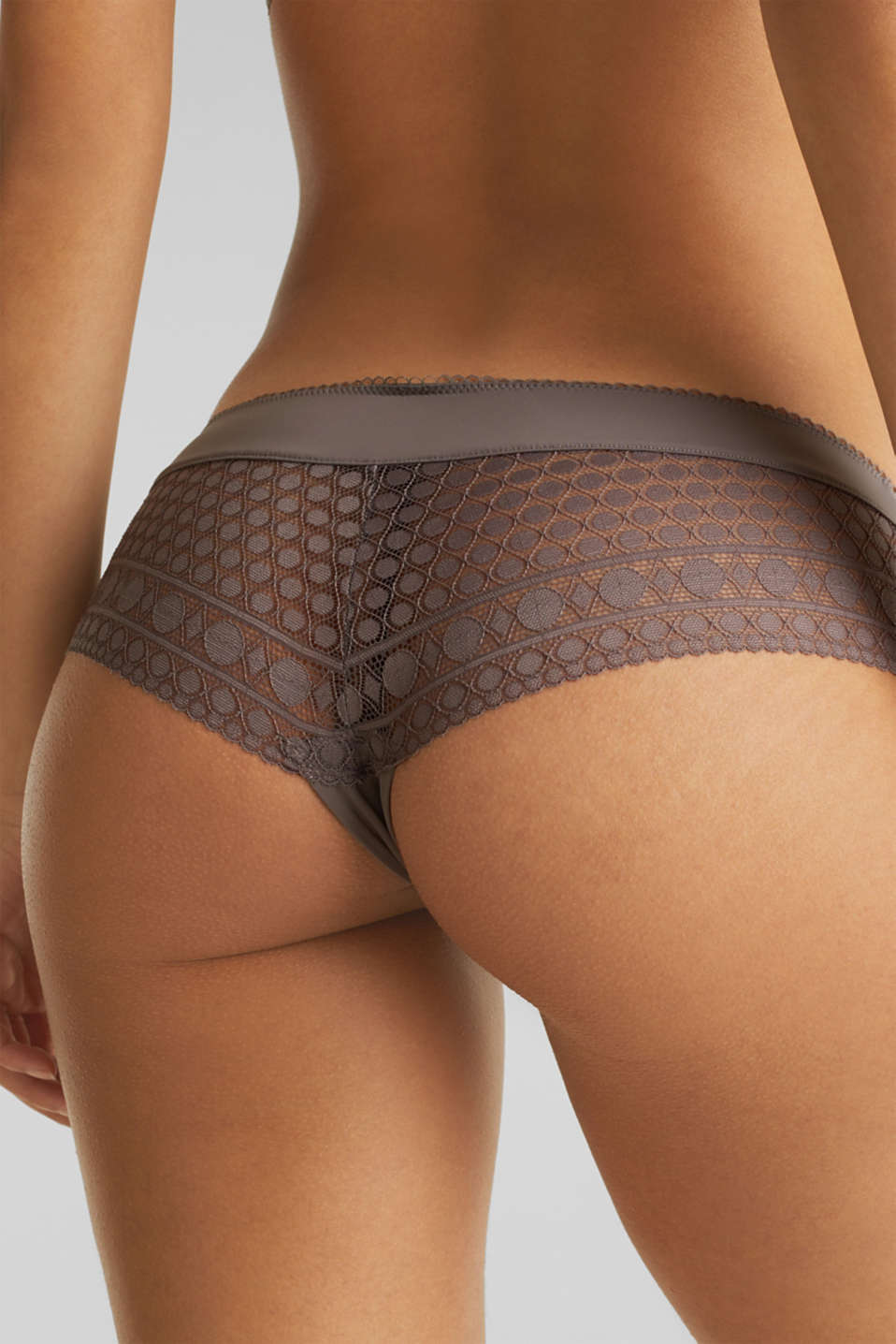 Hipster shorts with geometric lace, TAUPE, detail image number 3