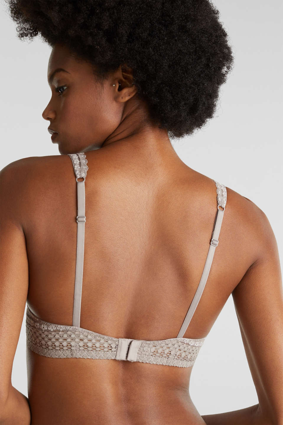 Padded underwire bra in lace, TAUPE, detail image number 3