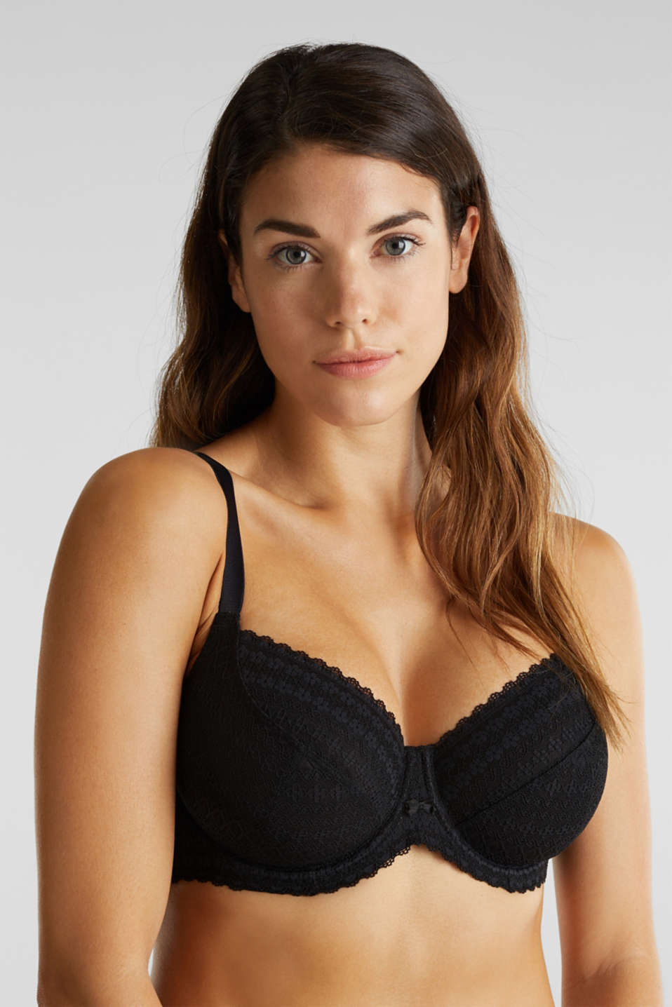 Unpadded underwire bra for larger cup sizes, BLACK, detail image number 0