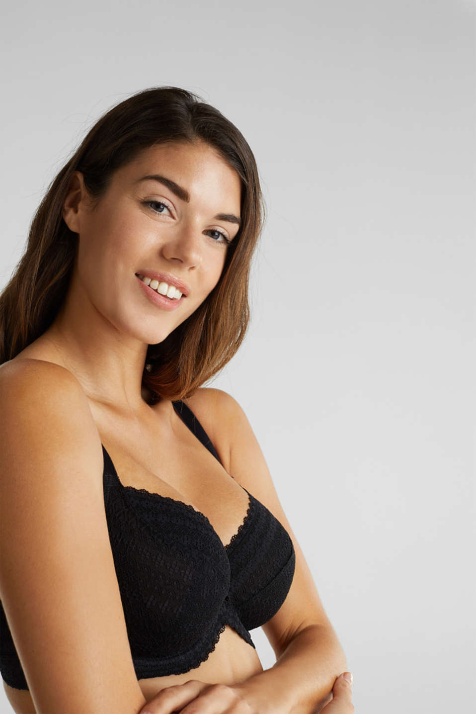 Unpadded underwire bra for larger cup sizes, BLACK, detail image number 2