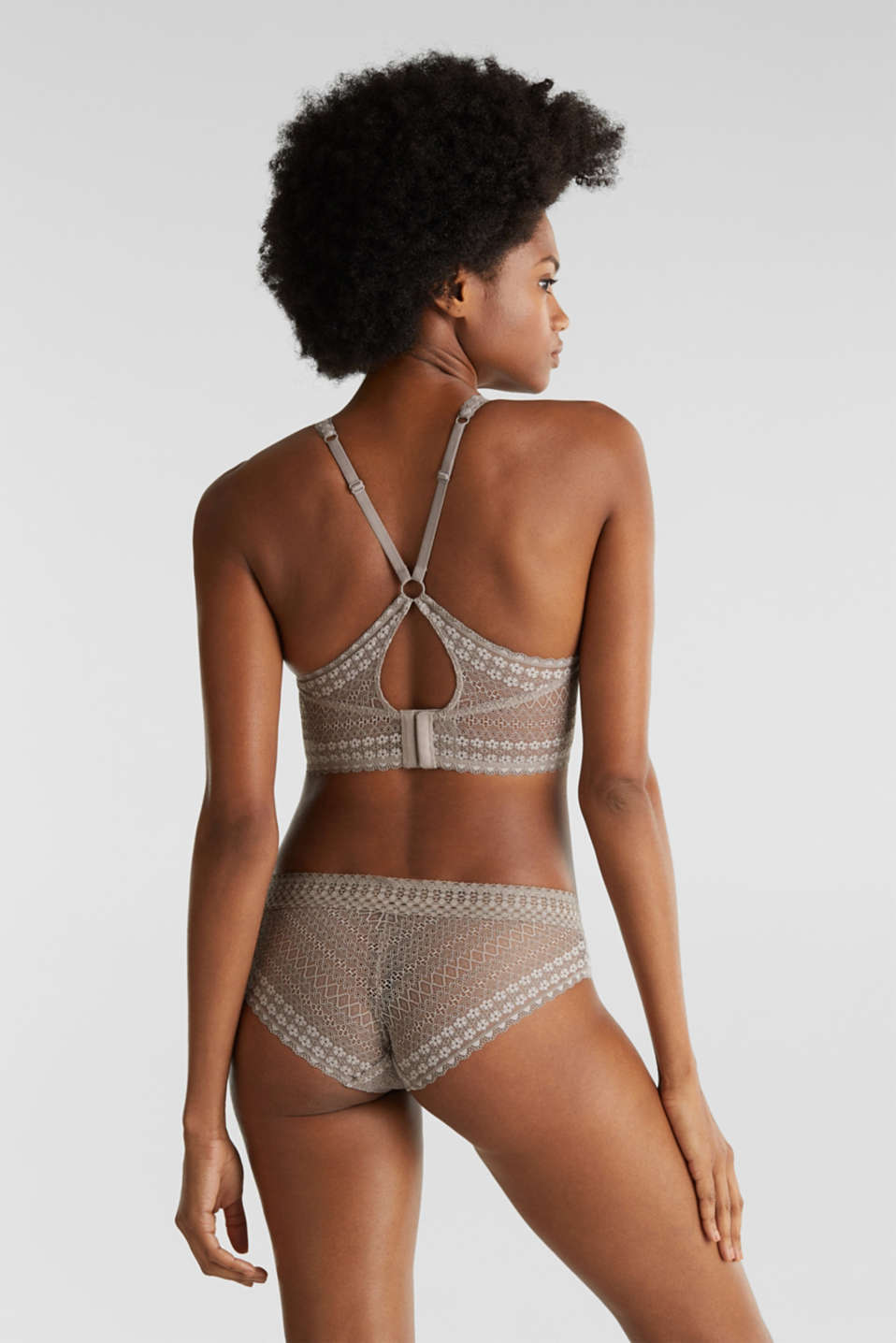 Padded wireless bra in lace, TAUPE, detail image number 1