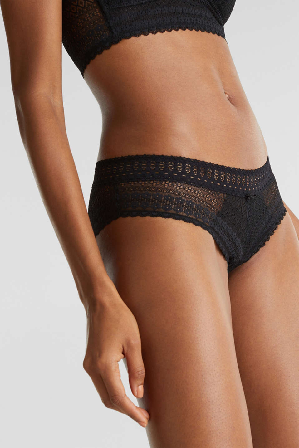 Hipster shorts made of lavish lace, BLACK, detail image number 1