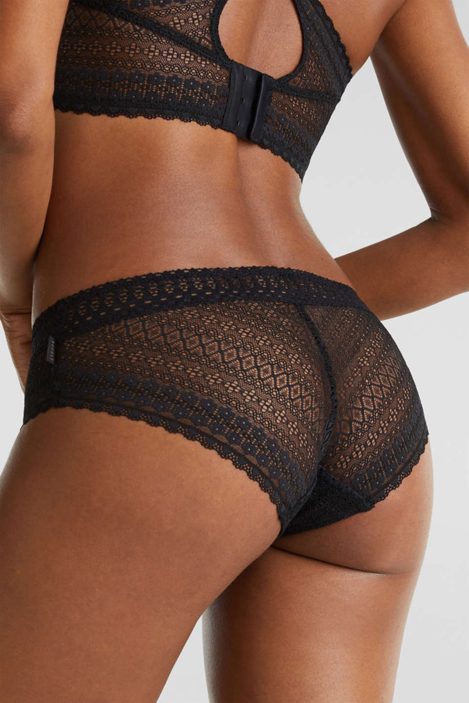 Hipster shorts made of lavish lace, BLACK, detail image number 3