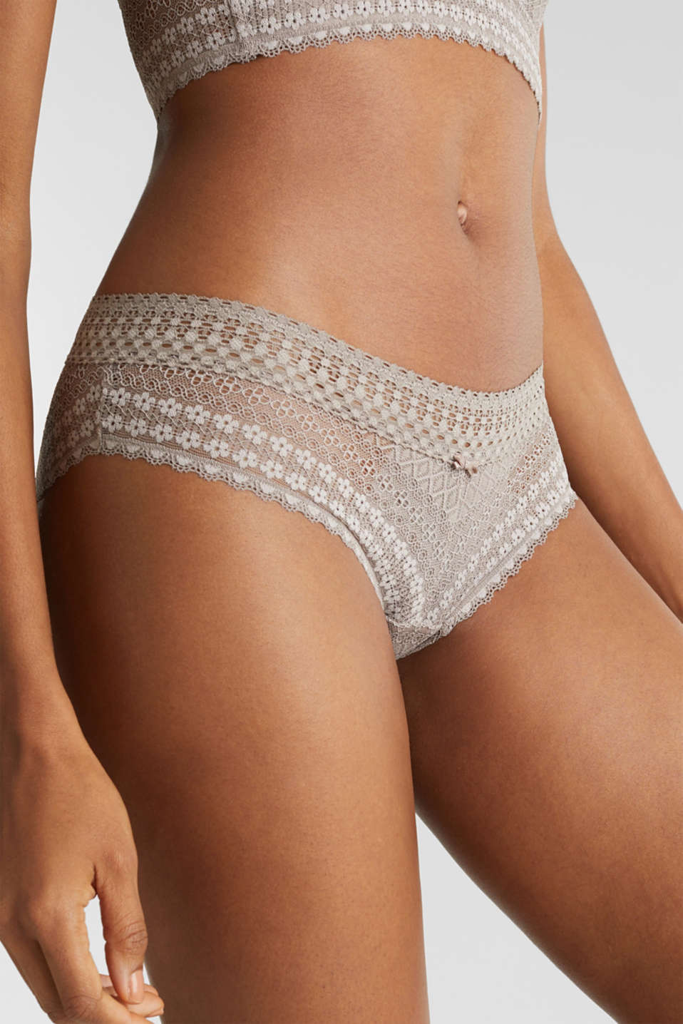 Hipster shorts made of lavish lace, TAUPE, detail image number 1