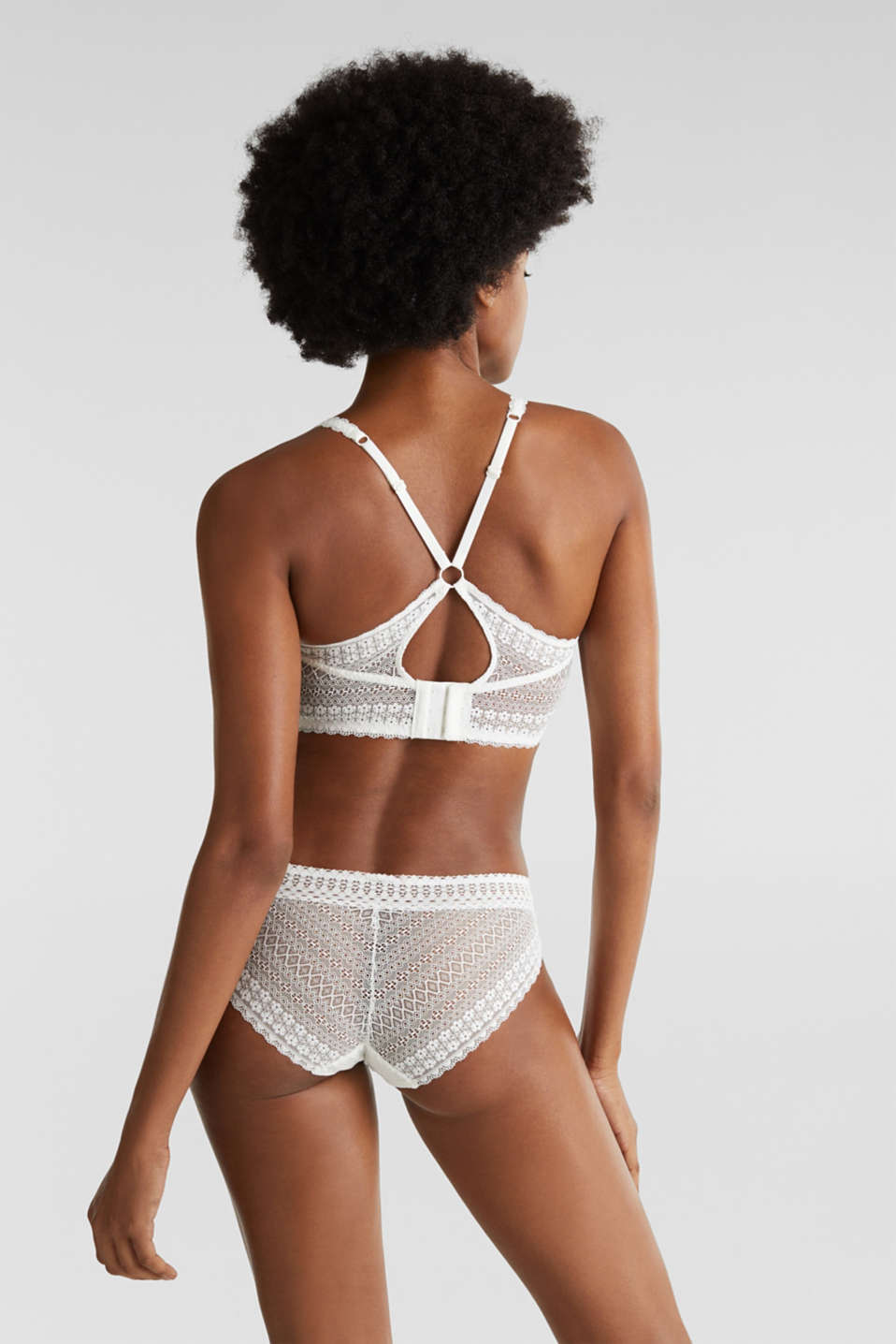 Padded wireless bra in lace, OFF WHITE, detail image number 1