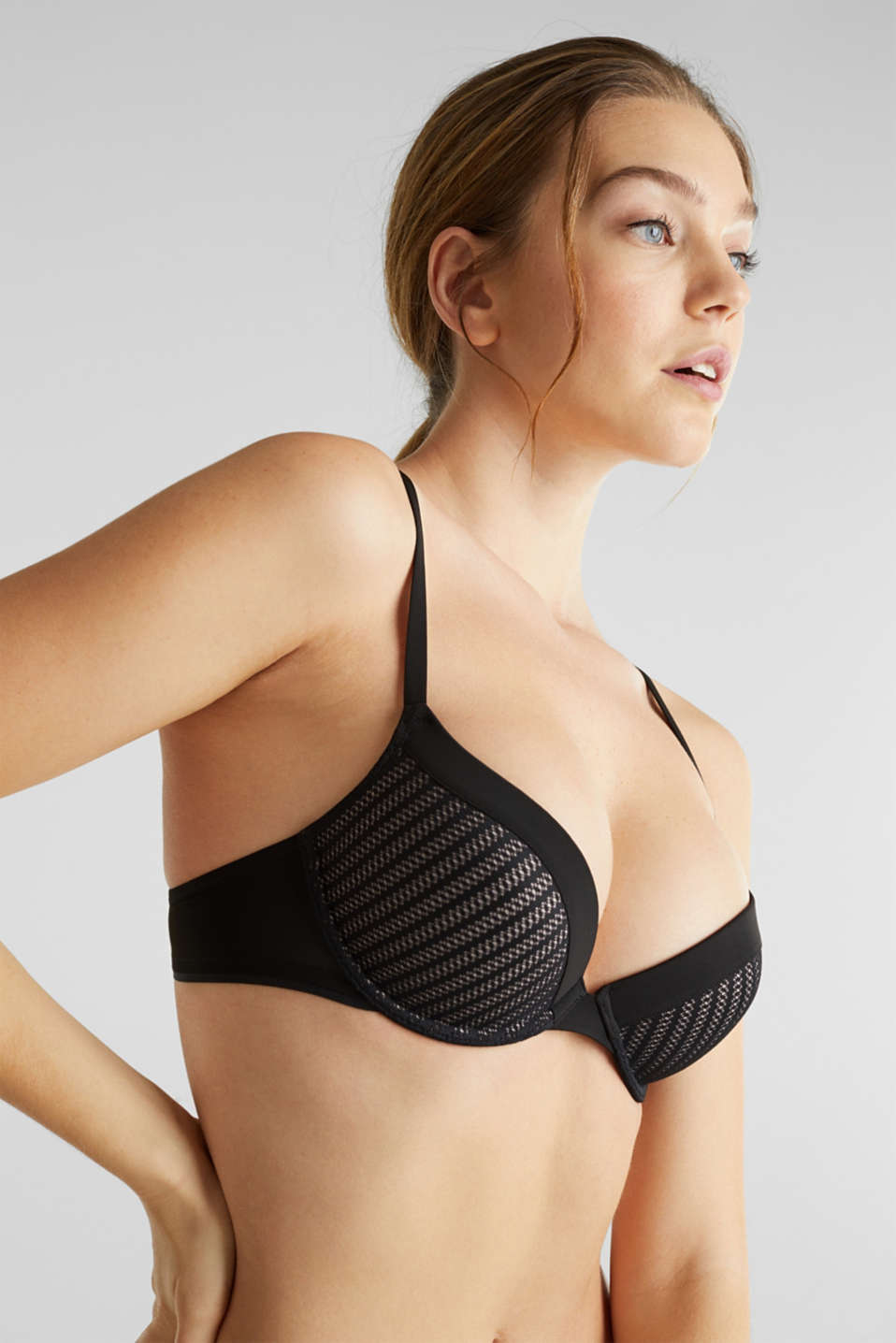 Push-up bra with an openwork pattern, BLACK, detail image number 2