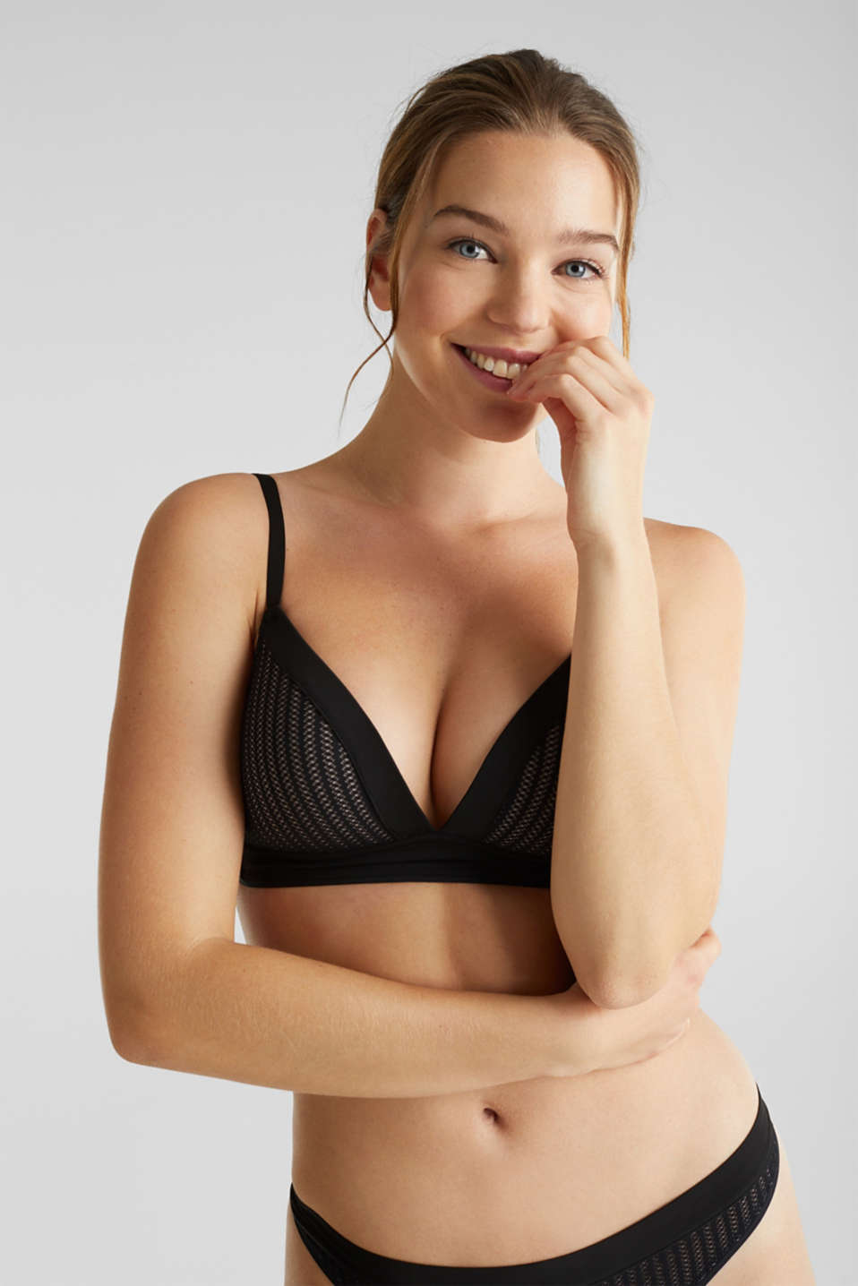 Padded, non-wired bra with an openwork pattern, BLACK, detail image number 0
