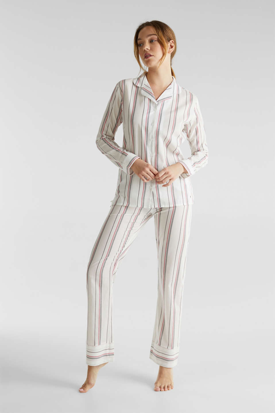 Striped woven pyjamas, 100% cotton, OFF WHITE, detail image number 0