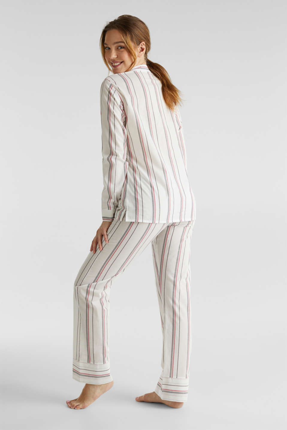 Striped woven pyjamas, 100% cotton, OFF WHITE, detail image number 1
