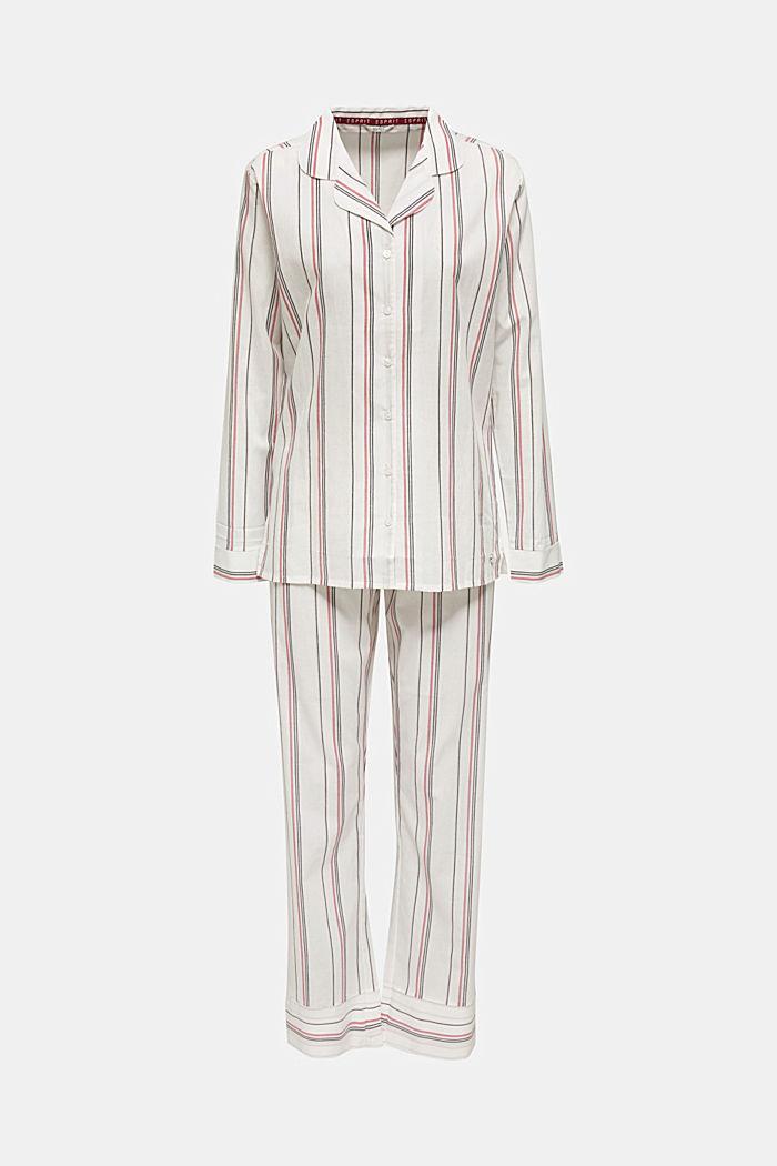 Pijama de tejido a rayas, 100% algodón, OFF WHITE, detail image number 0