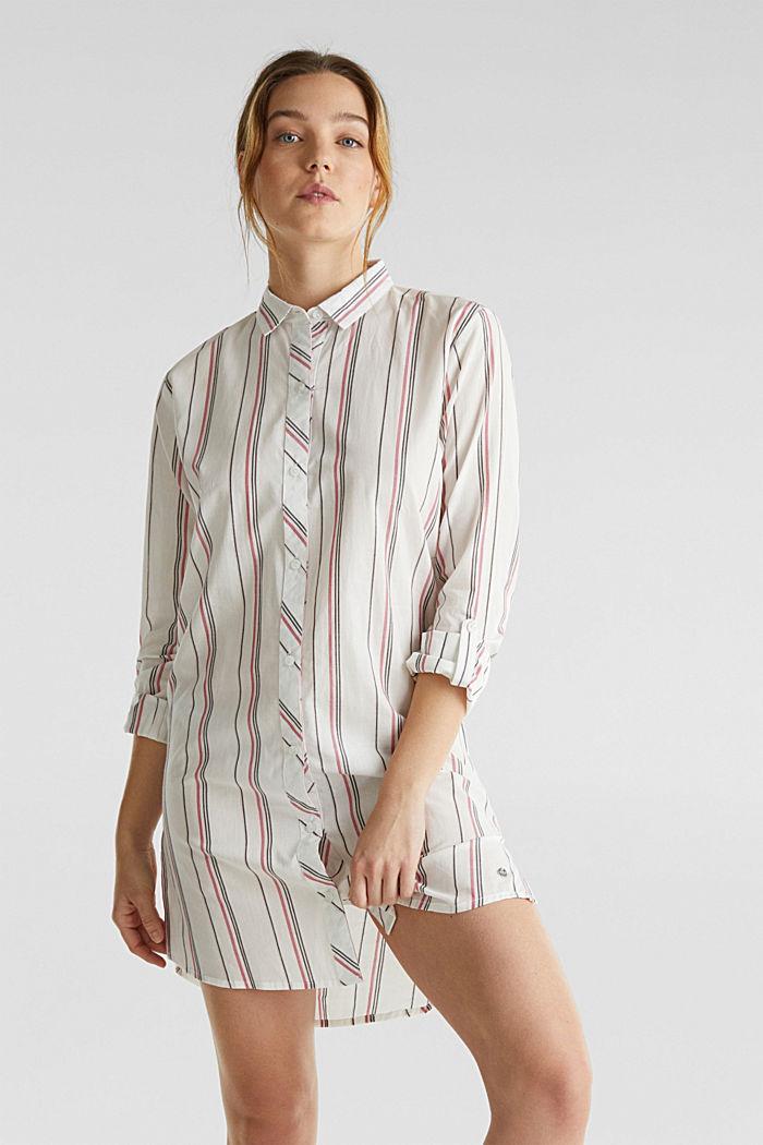 Web-Nachthemd mit Steifen, 100% Baumwolle, OFF WHITE, detail image number 0