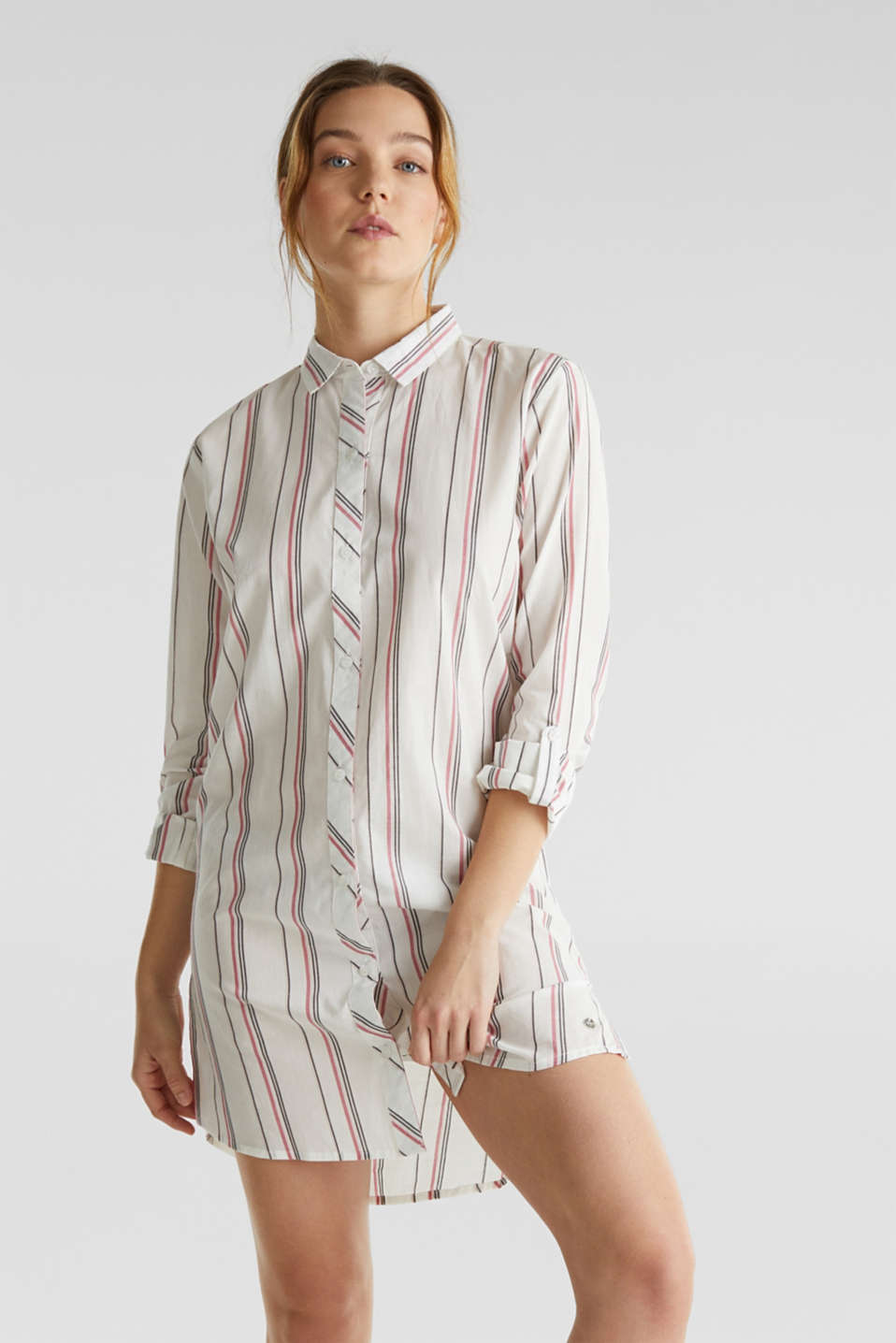 Esprit - Striped woven nightshirt, 100% cotton