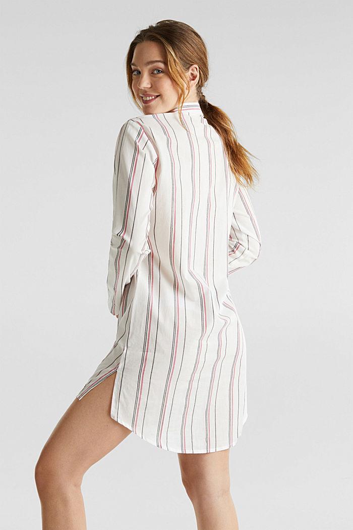 Web-Nachthemd mit Steifen, 100% Baumwolle, OFF WHITE, detail image number 1