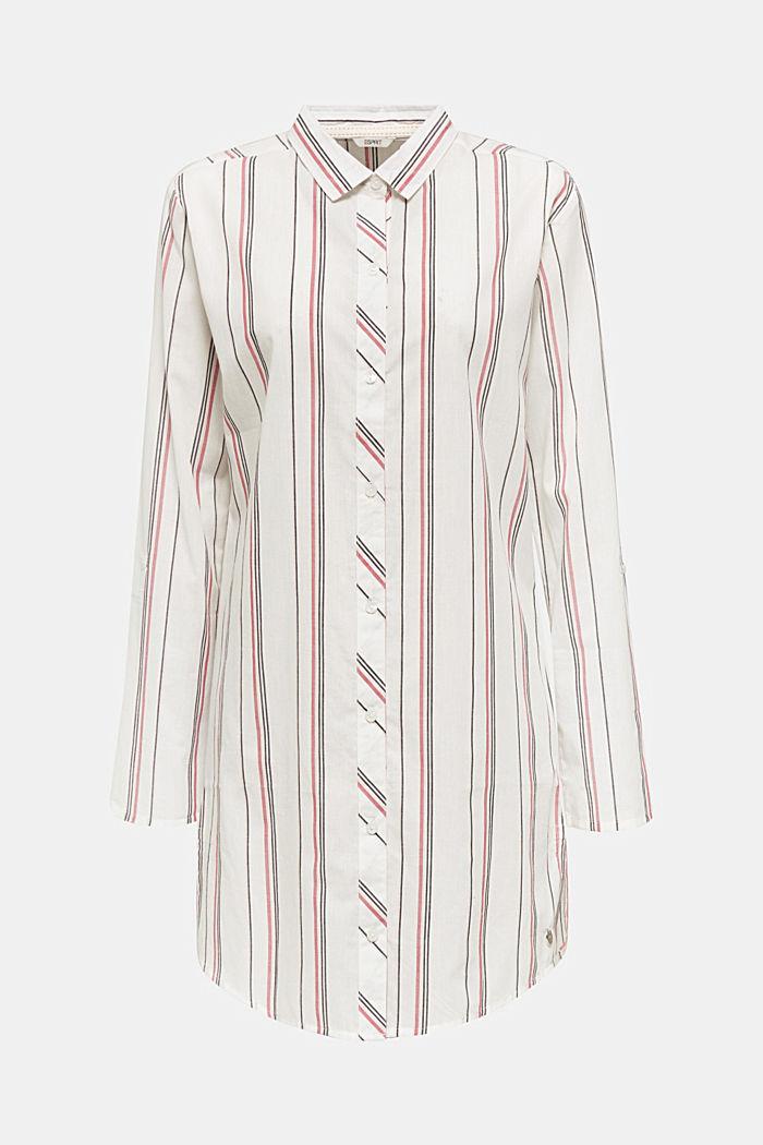 Web-Nachthemd mit Steifen, 100% Baumwolle, OFF WHITE, detail image number 3