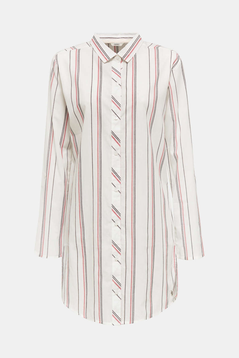 Striped woven nightshirt, 100% cotton, OFF WHITE, detail image number 3