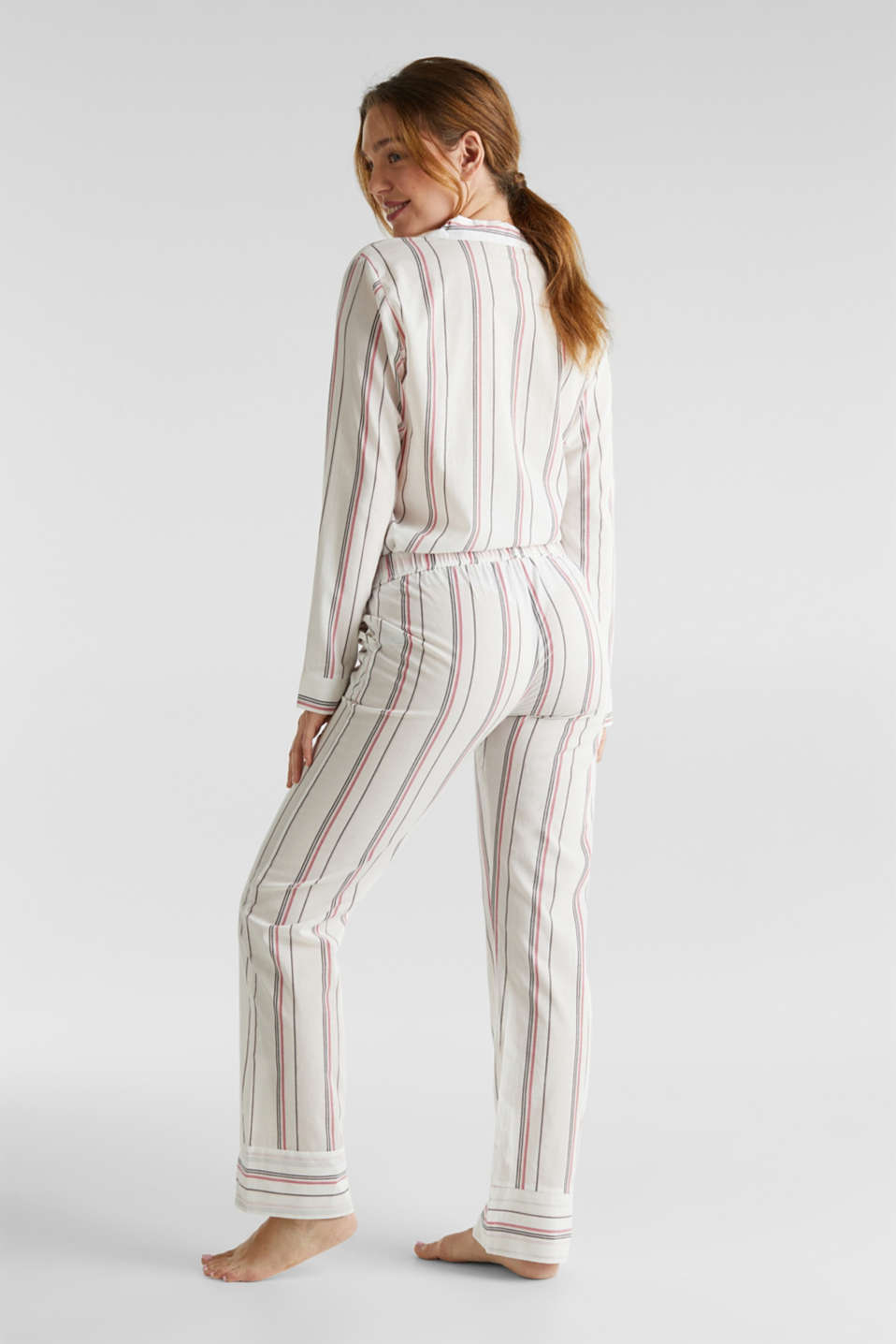 Striped woven pyjama bottoms, 100% cotton, OFF WHITE, detail image number 2