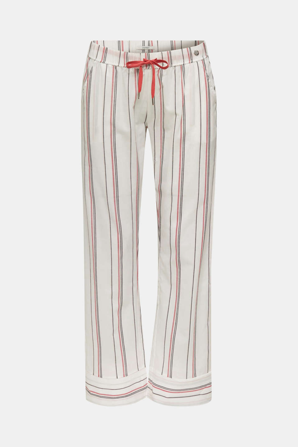 Striped woven pyjama bottoms, 100% cotton, OFF WHITE, detail image number 4