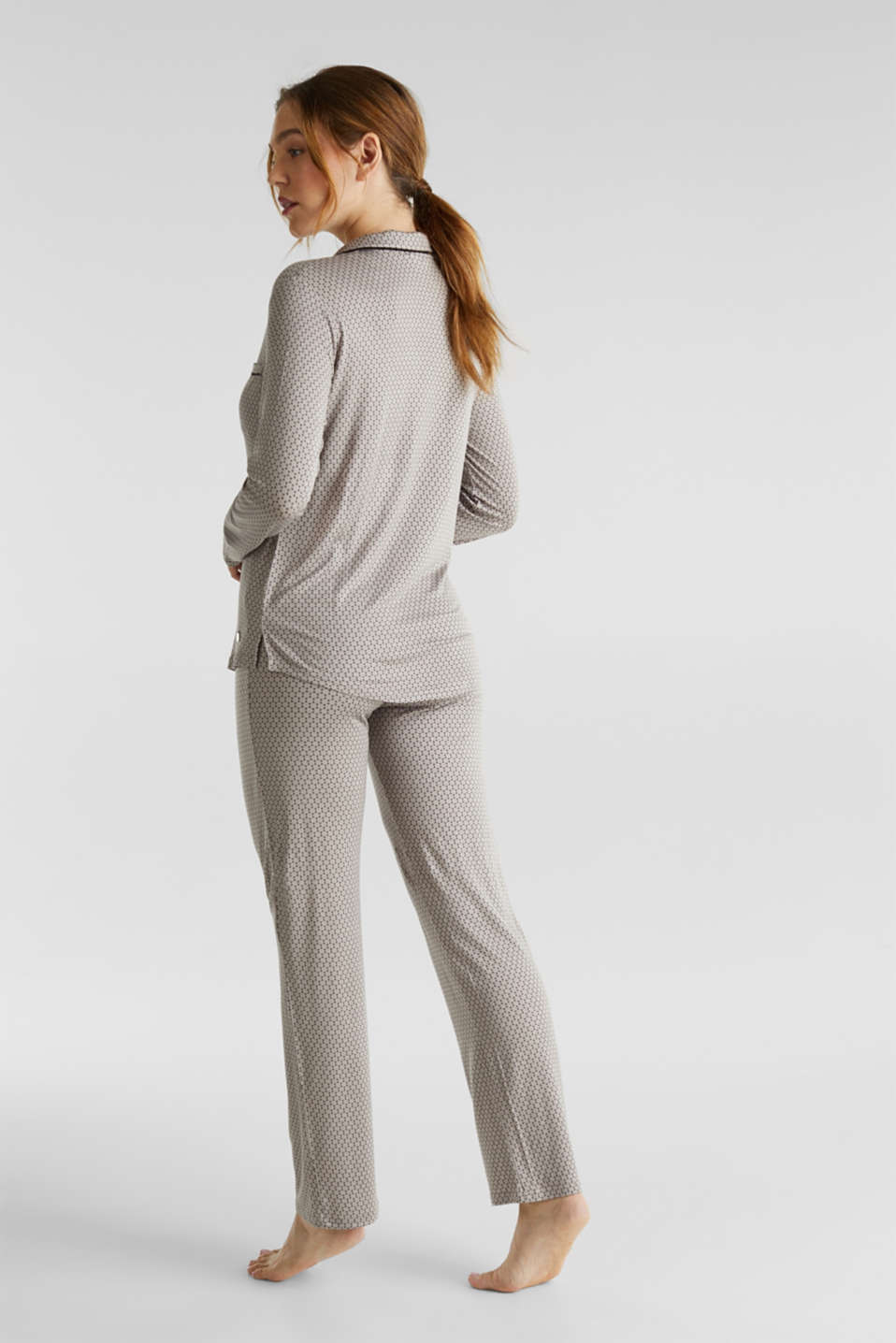 Stretch jersey pyjamas with a graphic print, LIGHT TAUPE, detail image number 1