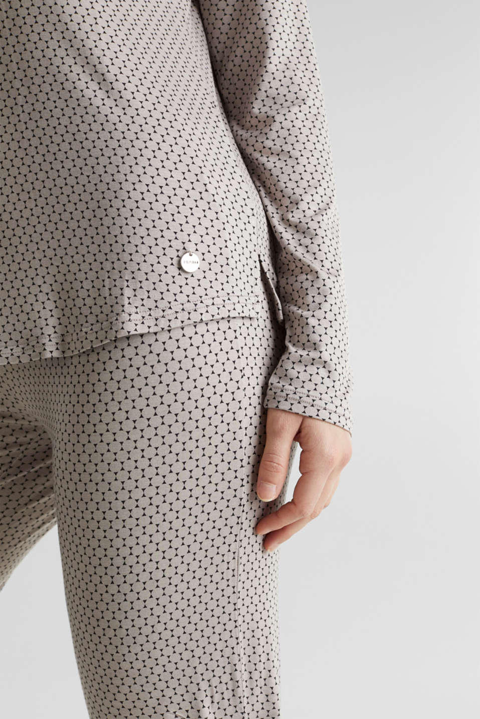 Stretch jersey pyjamas with a graphic print, LIGHT TAUPE, detail image number 3
