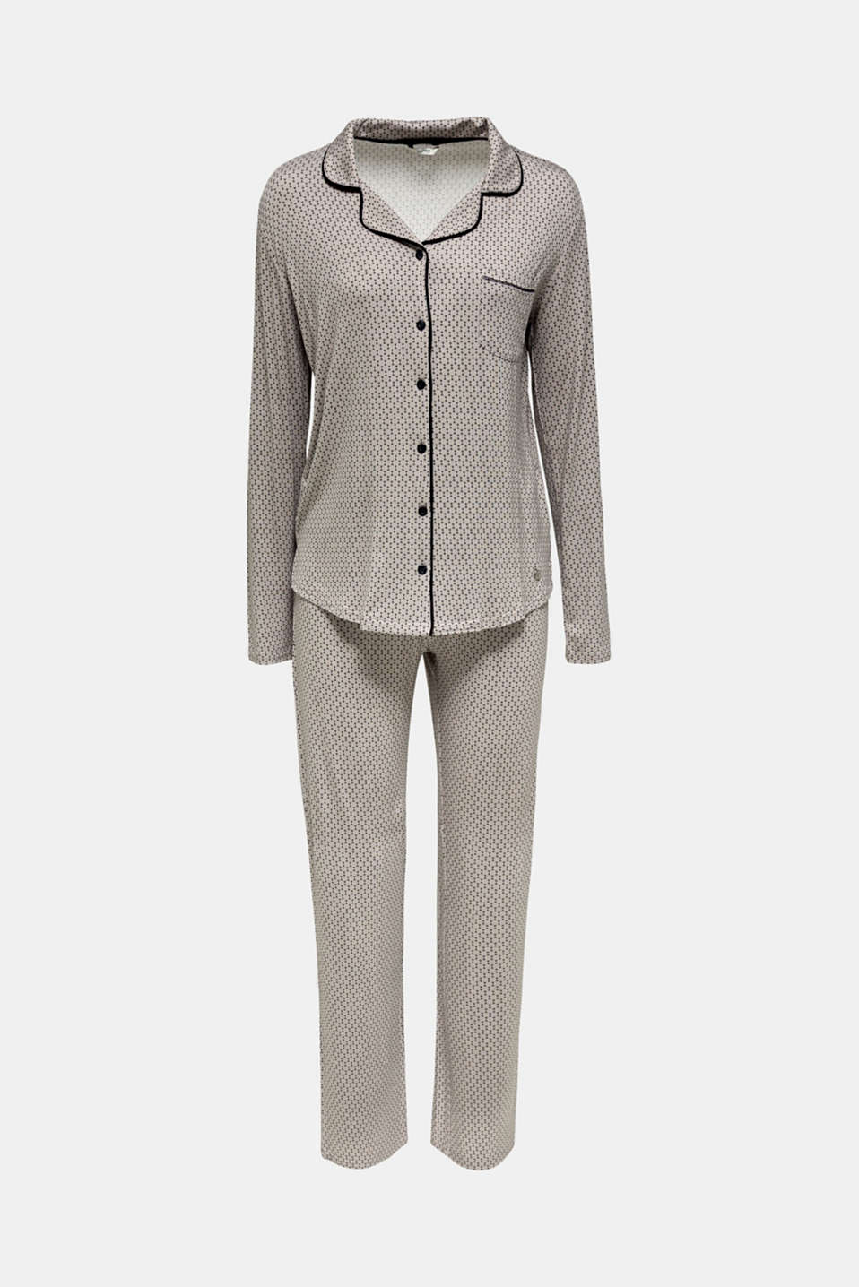 Stretch jersey pyjamas with a graphic print, LIGHT TAUPE, detail image number 4