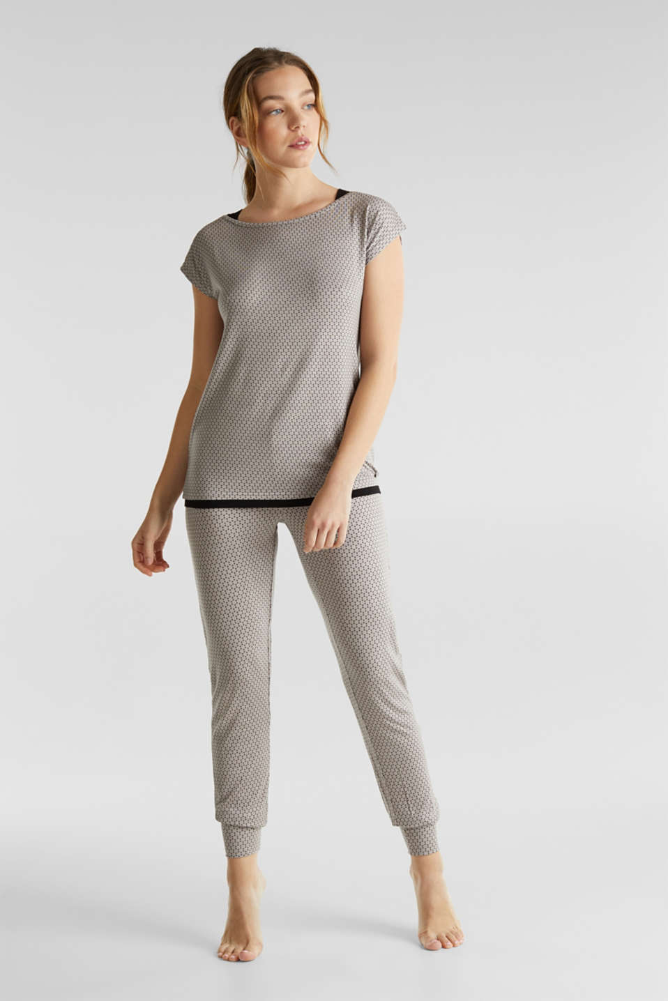 Stretch jersey pyjamas with a graphic print, LIGHT TAUPE, detail image number 0