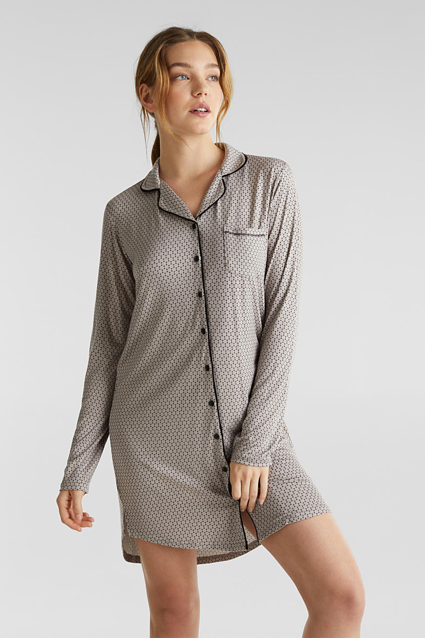 Stretch jersey nightshirt with a print