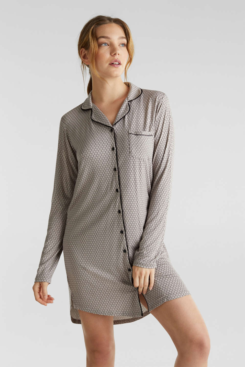 Stretch jersey nightshirt with a graphic print, LIGHT TAUPE, detail image number 0