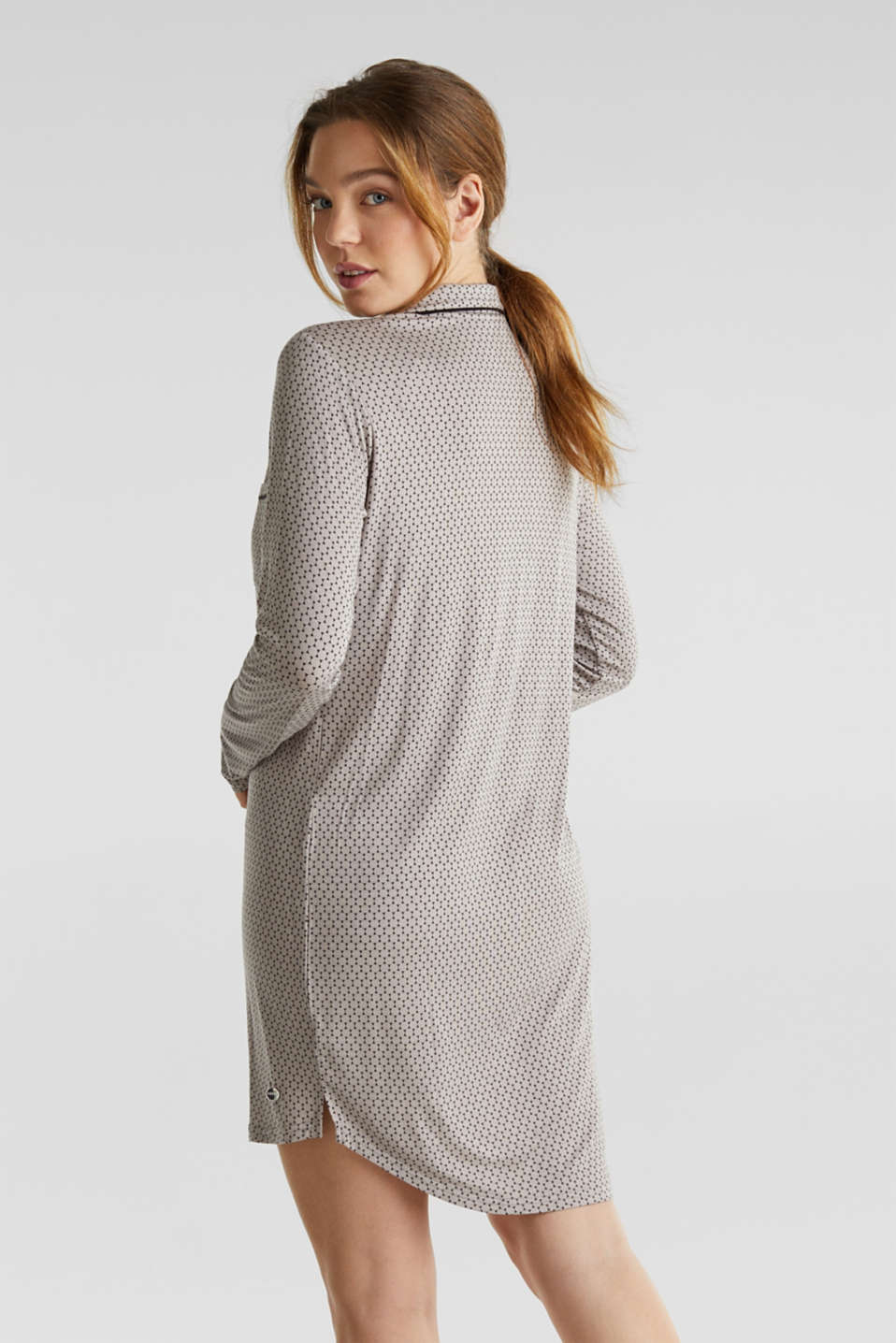 Stretch jersey nightshirt with a graphic print, LIGHT TAUPE, detail image number 1