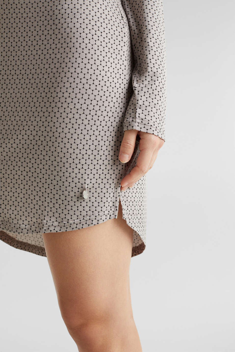 Stretch jersey nightshirt with a graphic print, LIGHT TAUPE, detail image number 3