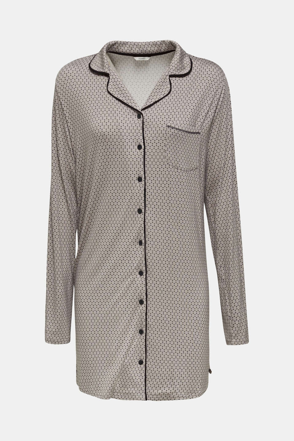 Stretch jersey nightshirt with a graphic print, LIGHT TAUPE, detail image number 4