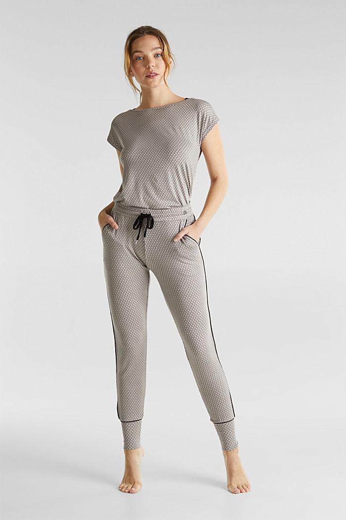 Jersey broek met stretch en grafische print