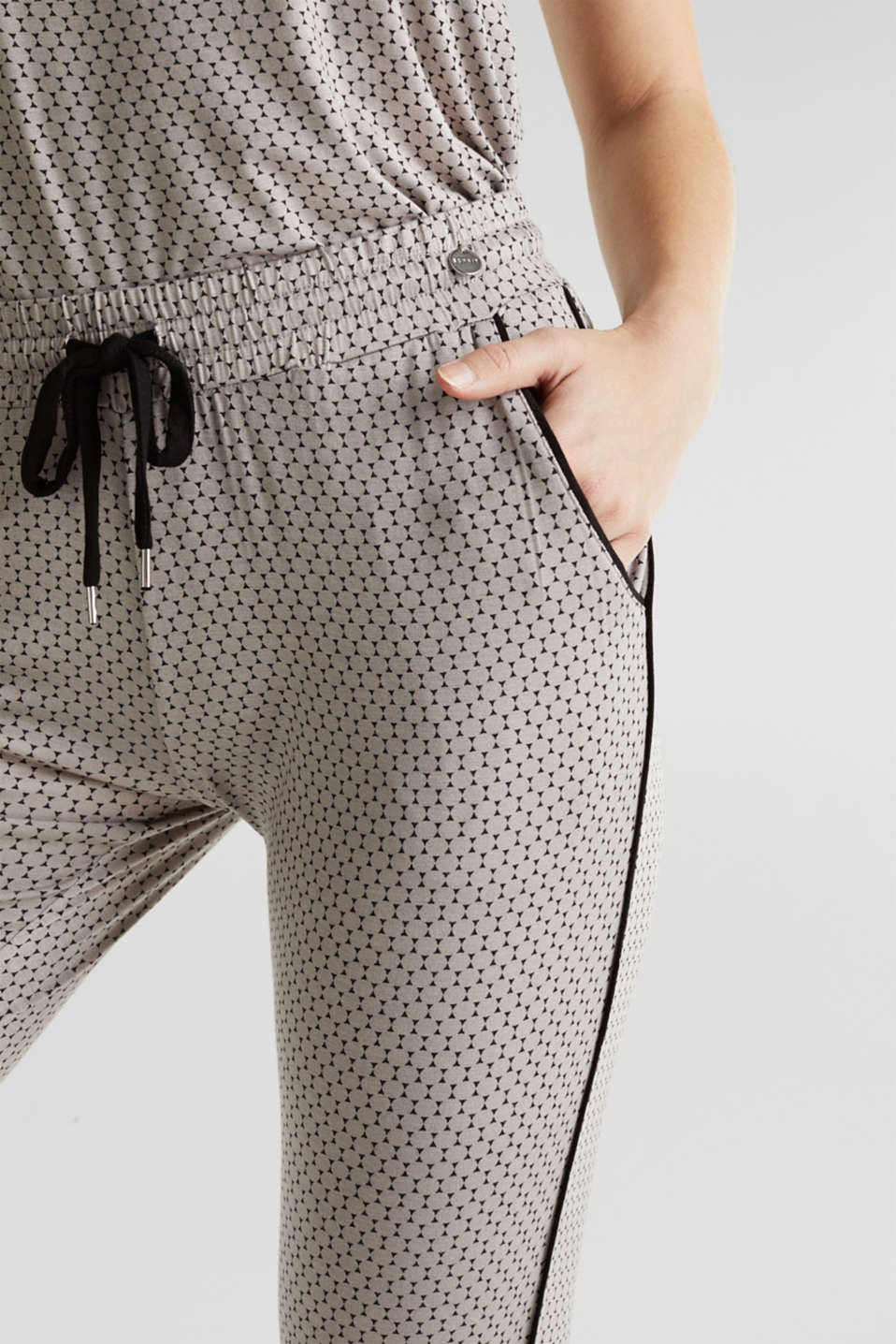 Stretch jersey trousers with a graphic print, LIGHT TAUPE, detail image number 1