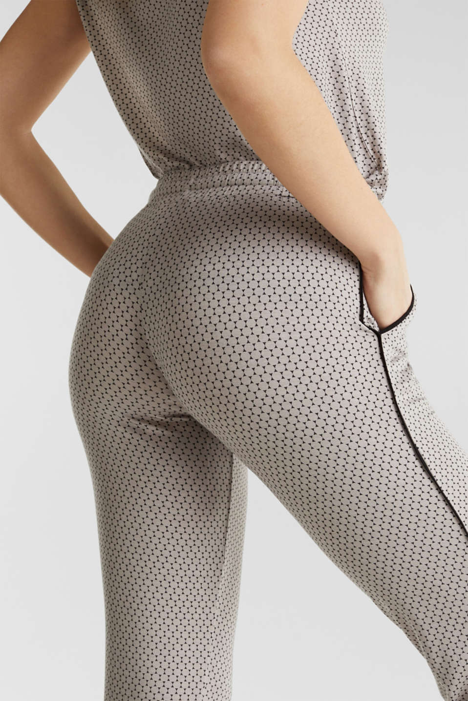 Stretch jersey trousers with a graphic print, LIGHT TAUPE, detail image number 4