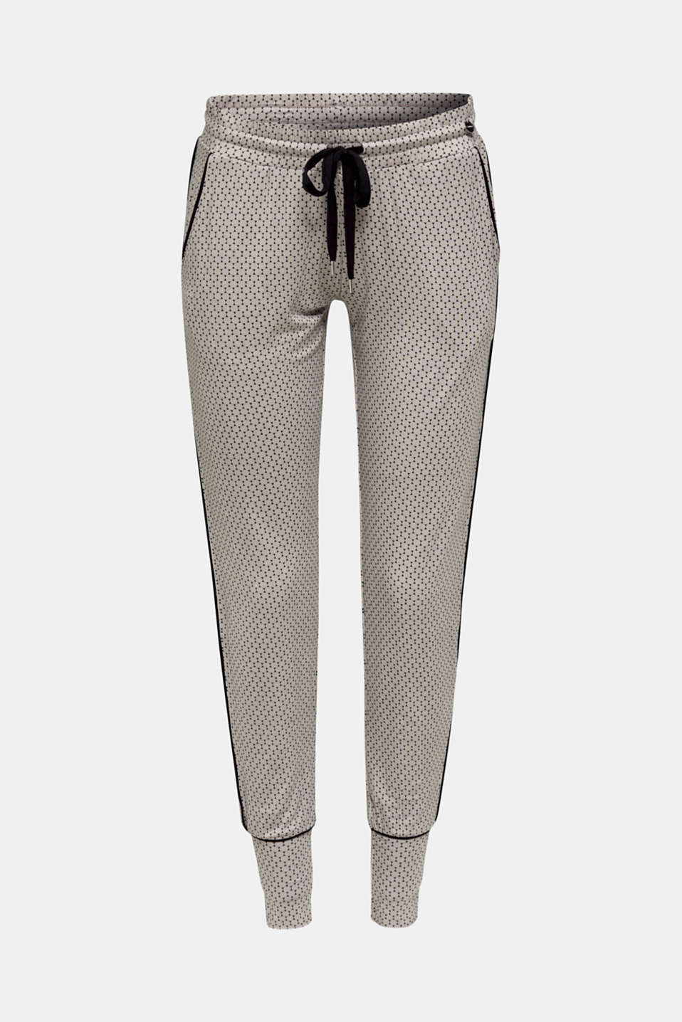 Stretch jersey trousers with a graphic print, LIGHT TAUPE, detail image number 5