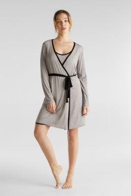 Stretch jersey kimono with a graphic print, LIGHT TAUPE, detail