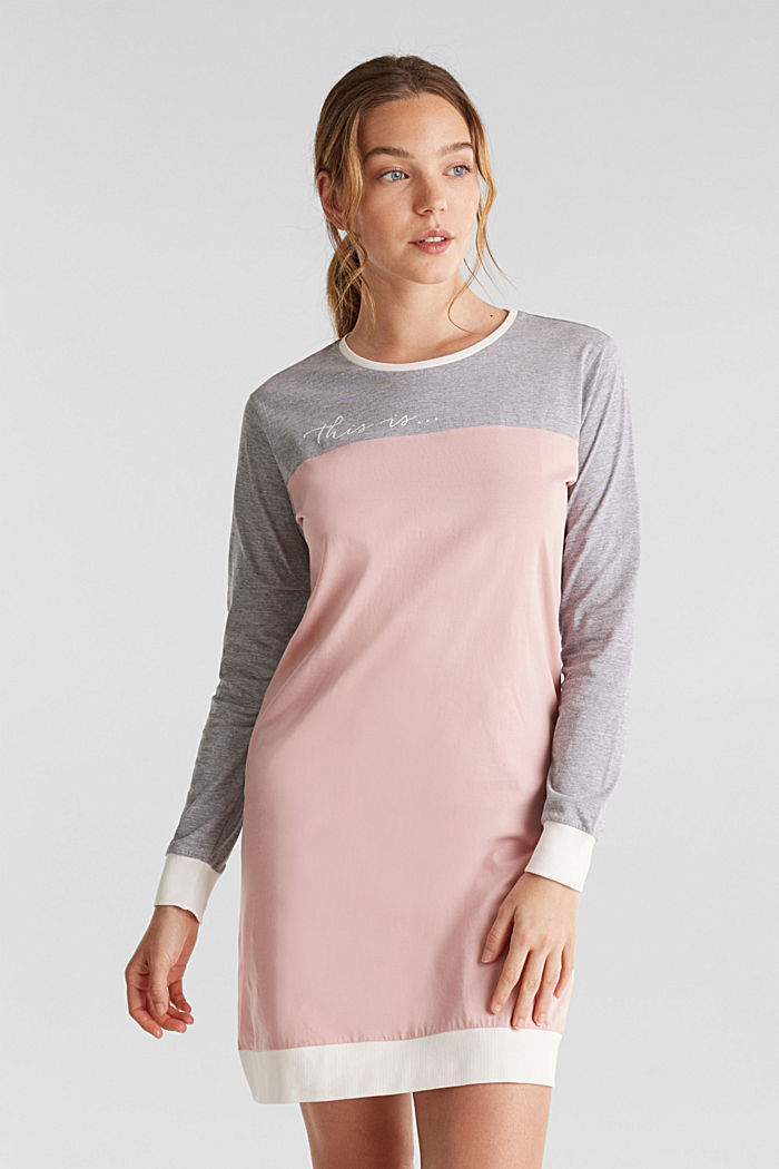 Jersey nightshirt made of blended cotton, OLD PINK, detail image number 0
