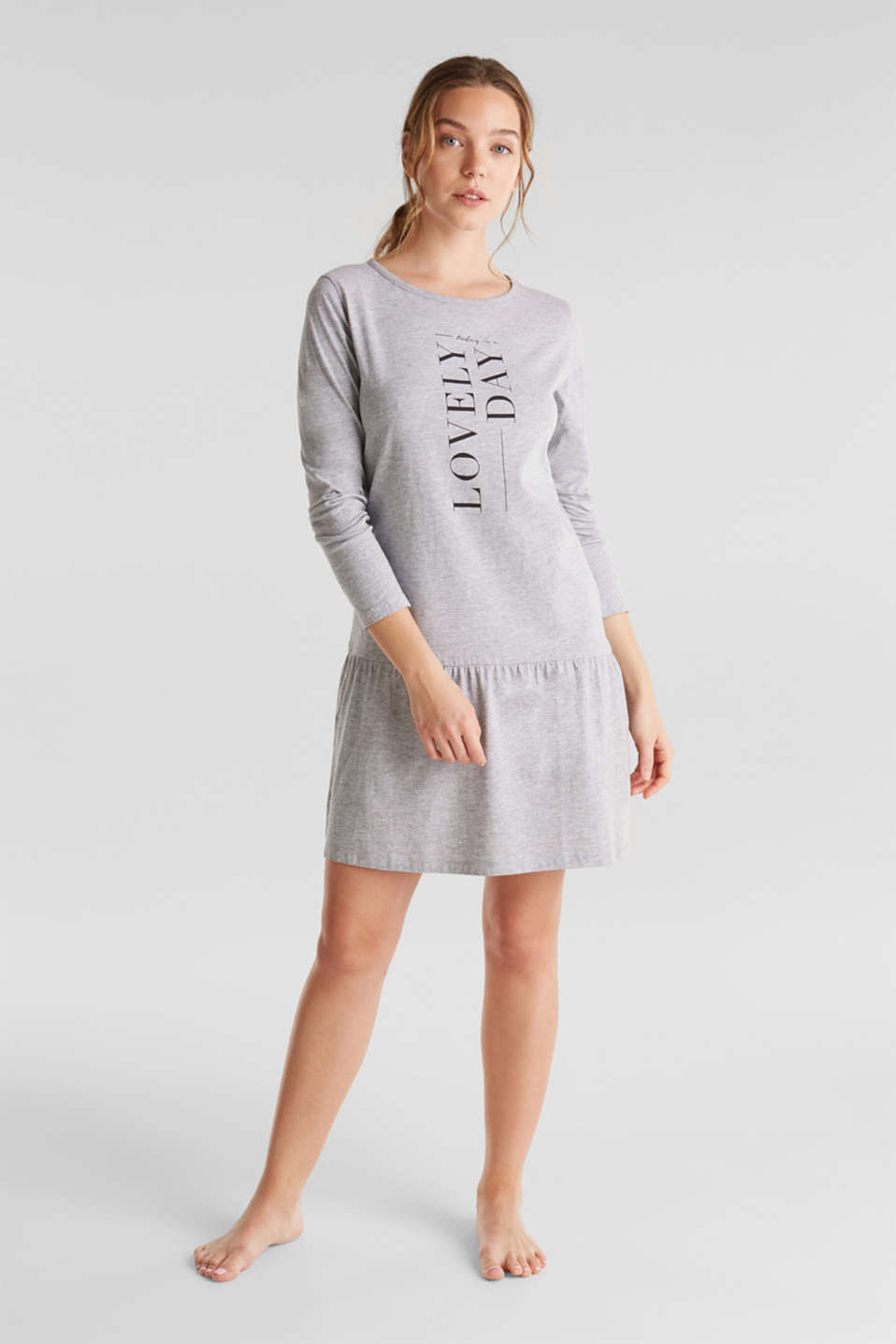 Esprit - Jersey nightshirt with a flared skirt