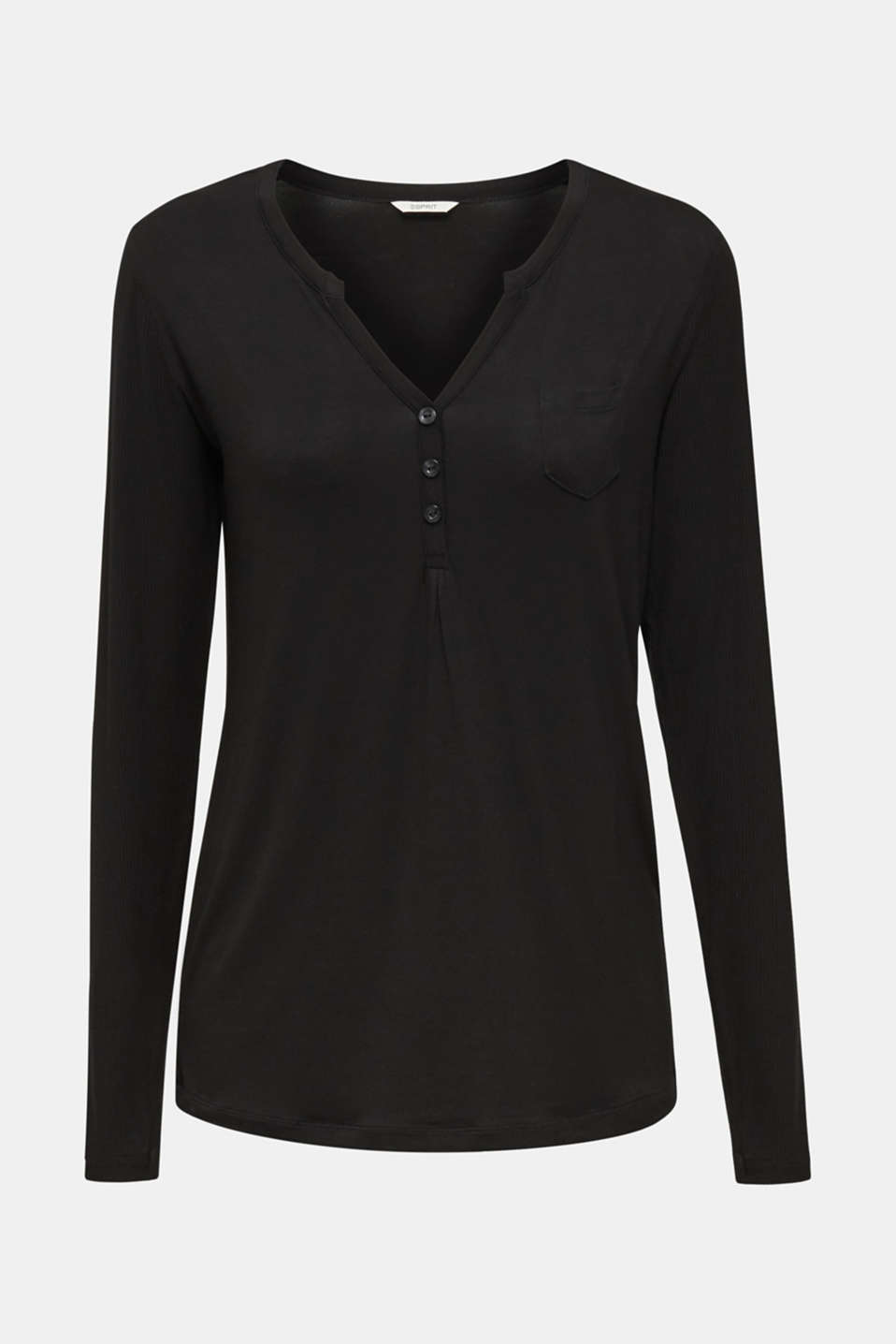 Jersey Henley with ribbed details, BLACK, detail image number 4