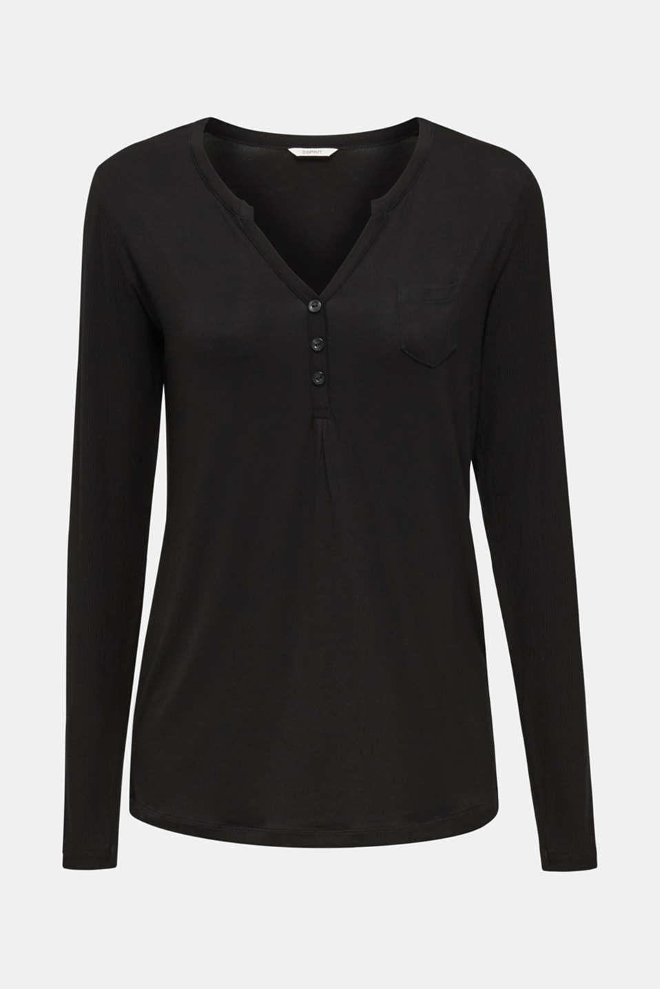 Flowing jersey neckline with ribbed details, BLACK, detail image number 4
