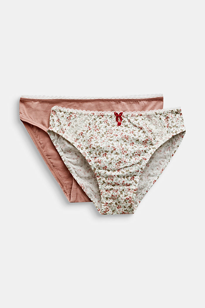 Double pack: Briefs, in a plain colour and with a floral pattern, OFF WHITE, detail image number 0