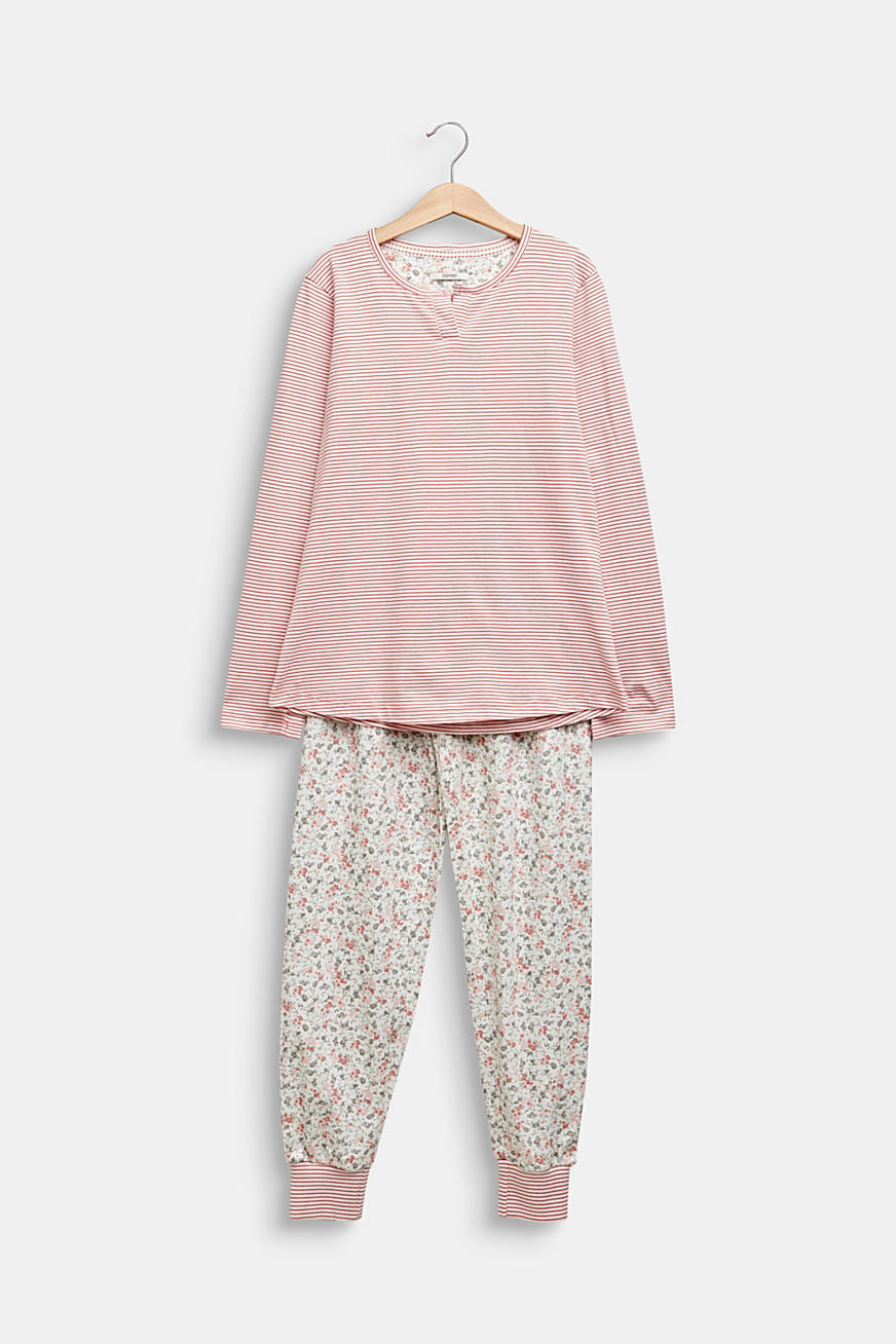 Pyjama set in a mix of patterns, 100% cotton