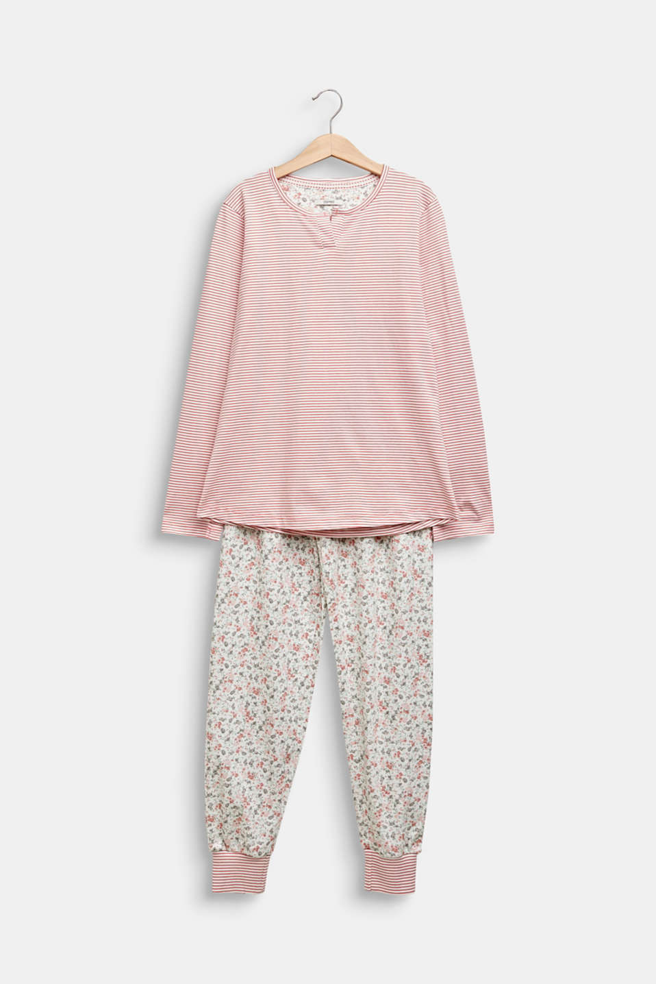 Pyjama set in a mix of patterns, 100% cotton, OFF WHITE, detail image number 0