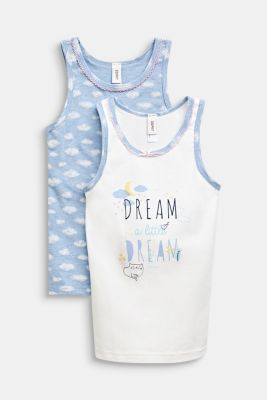 Double pack of tops with a cloud print, OFF WHITE, detail