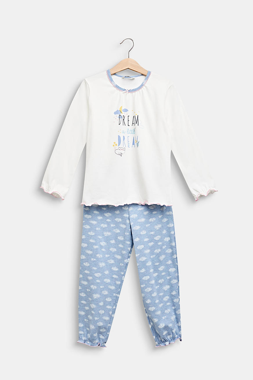 Pyjama set with a cloud print, stretch cotton