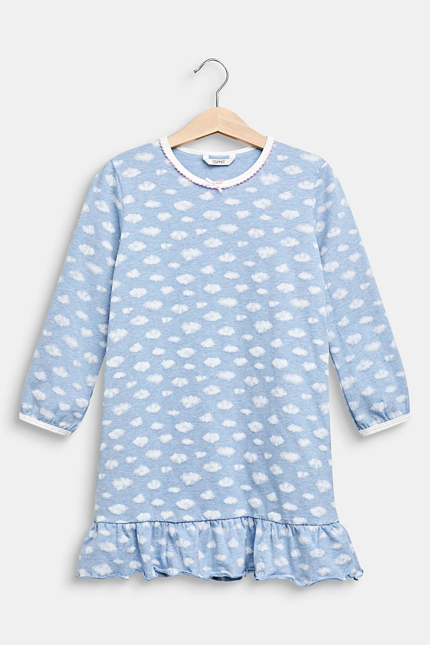 Nightshirt with a cloud print in stretch cotton
