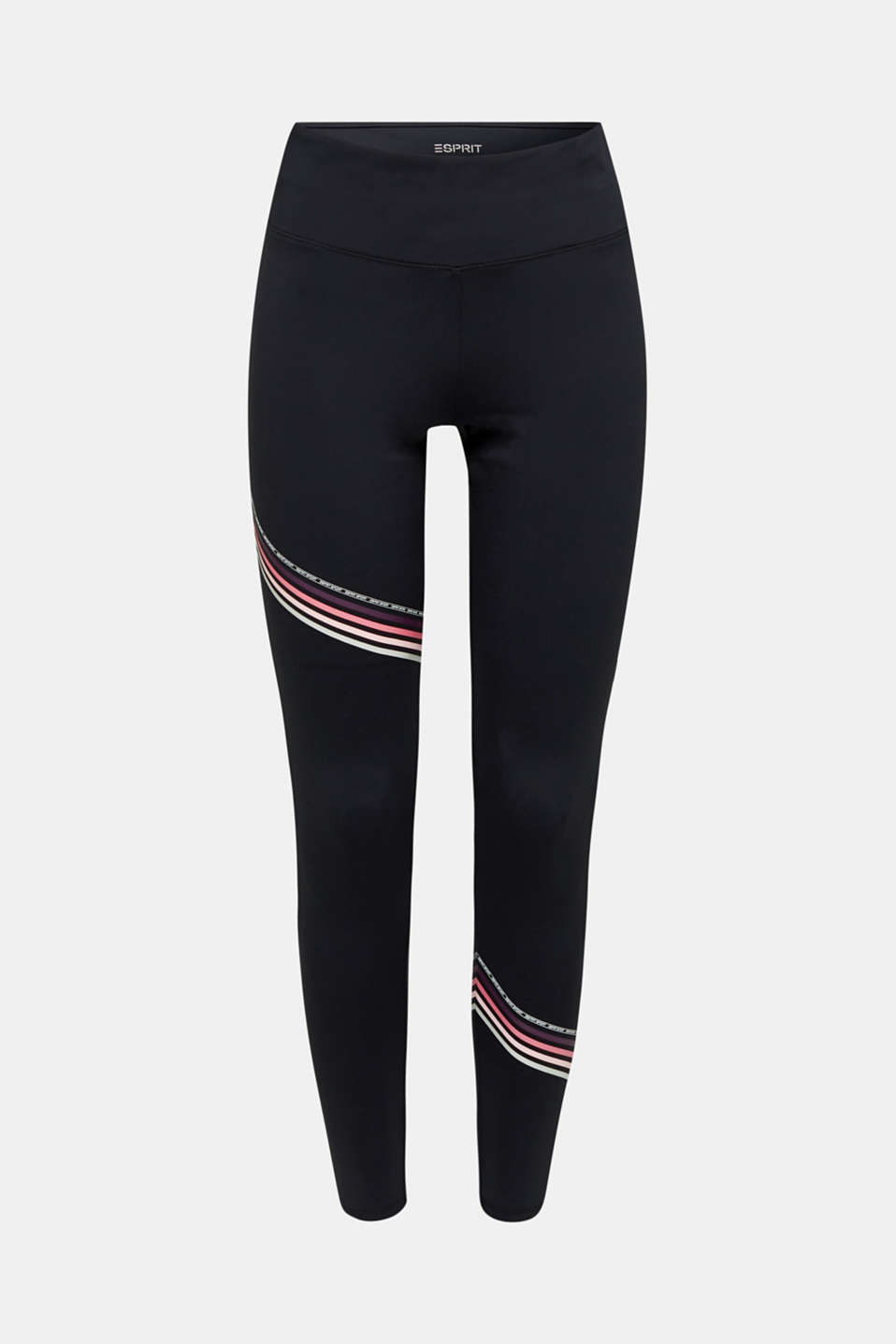 Compression leggings with stripes, E-DRY, BLACK, detail image number 5