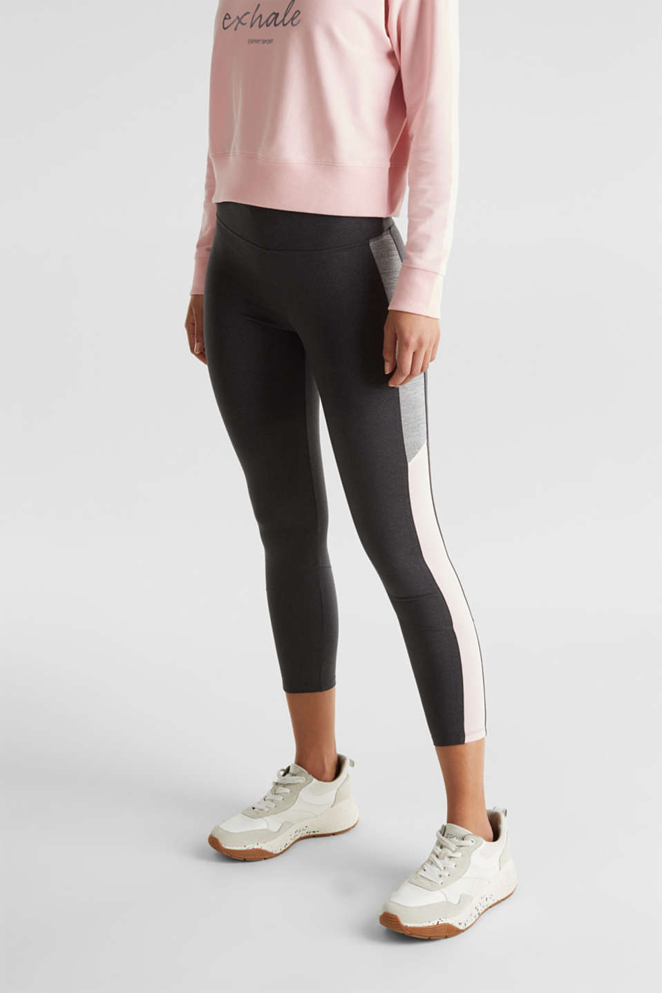 Active leggings with colour block stripes, E-DRY, ANTHRACITE 2, detail image number 5