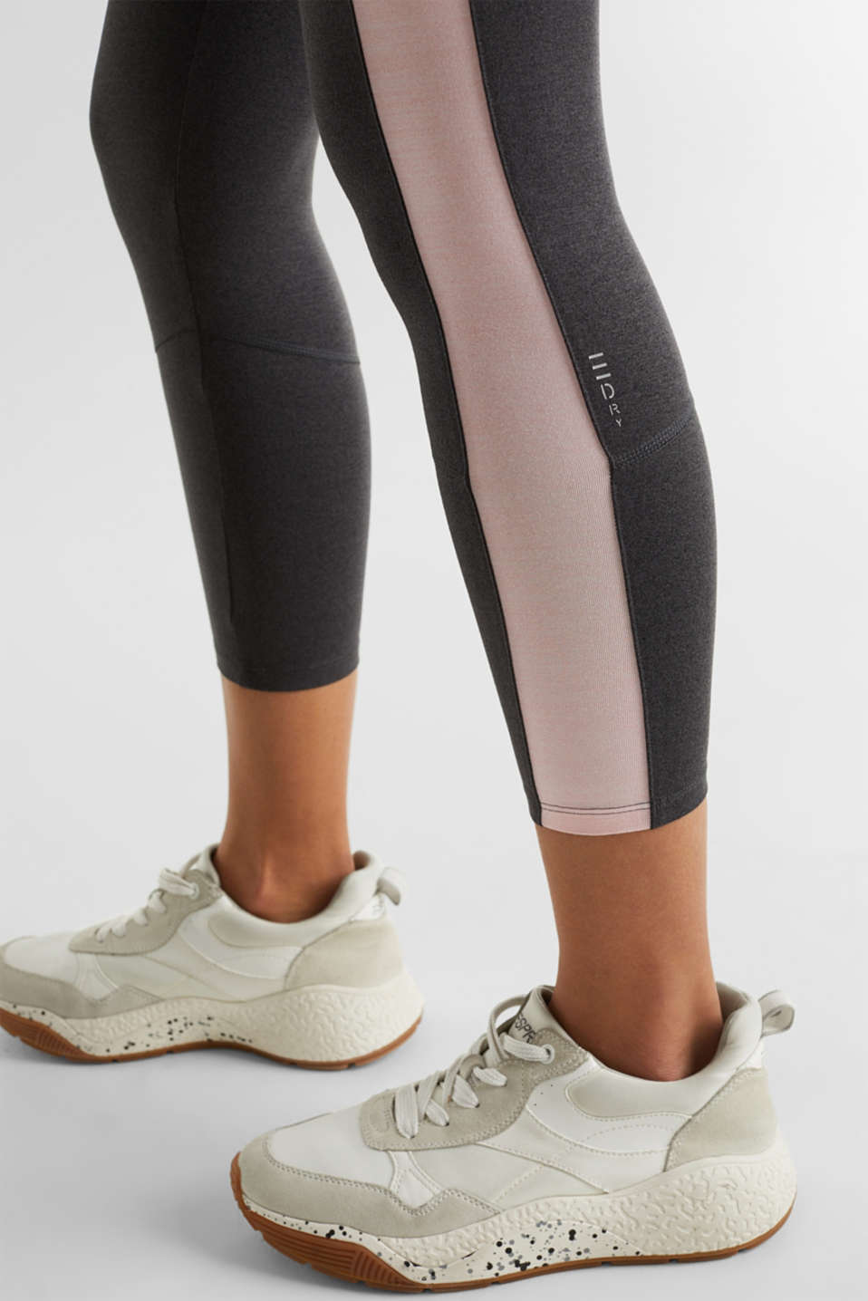 Active leggings with colour block stripes, E-DRY, ANTHRACITE 2, detail image number 4