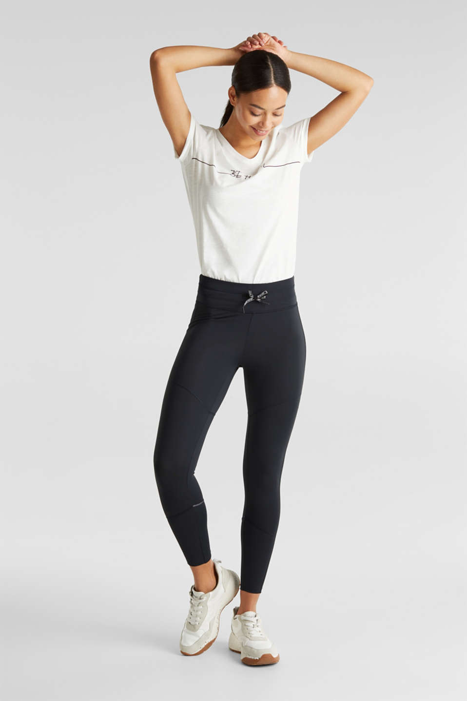 Active leggings with reflective stitching, E-DRY