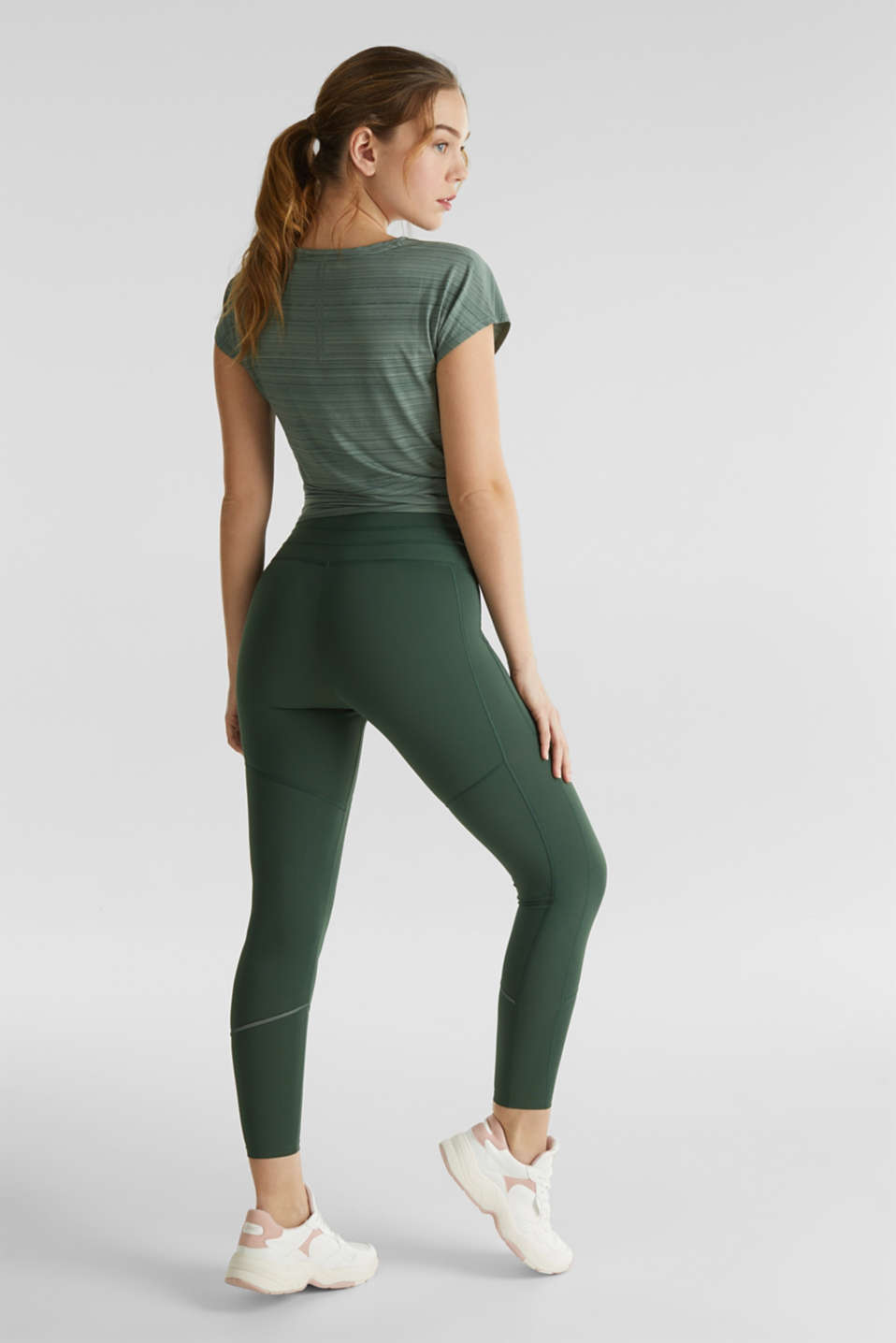 Active leggings with reflective stitching, E-DRY, KHAKI GREEN, detail image number 3